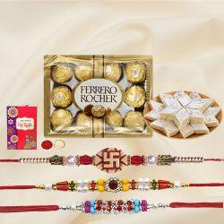 Designer Set of 3 Rakhi with Kaju Katli n Ferrero Rocher