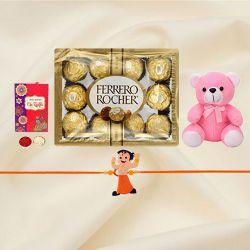 Cute Kids Rakhi with Teddy n Ferrero Rocher