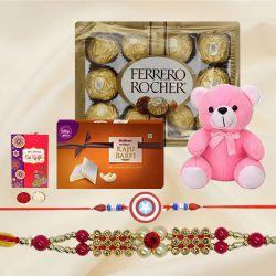 Designer Rakhi n Kids Rakhi with Teddy n Kaju Katli