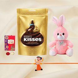 Fancy Kids Rakhi with Cute Teddy n Hershey Chocolates