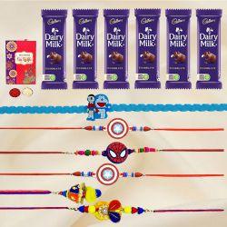 Attractive Bhaiya Bhabhi N Kids Rakhi with Chocolates