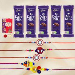 Trendsetting Bhaiya Bhabhi N Kids Rakhi with Chocolates