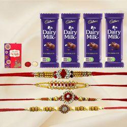 Gorgeous Set of 4 Jewel Rakhi with 4 Chocolates