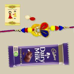 Gorgeous Zardozi Rakhi with Chocolate, Roli Tika N Card