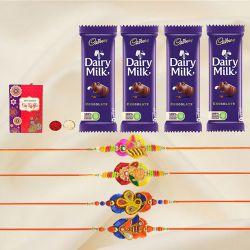 Amazing Set of 4 Zardosi Rakhi with 4 Chocolates