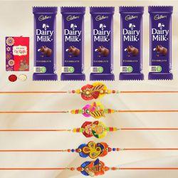 Graceful Set of 5 Zardozi Rakhi with 5pc Chocolates