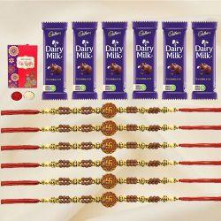 Astonishing Set of 6 OM/Ganesh Rakhi with 6pc Chocolates