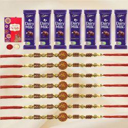 Auspicious Set of 7 OM/Ganesh Rakhi with 7pc Chocolates