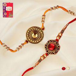 Gorgeous Set of 2 Jewel Rakhi with Roli Chawal N Card