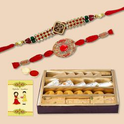 Dual Ethnic Rakhi Set with Assorted Sweets N Card