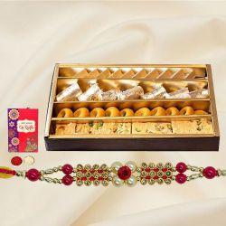 Designer Rakhi with Assorted Sweets, Free Roli Tika n Card