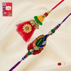 Exquisite Bhaiya Bhabhi Rakhi with Roli, Chawal n Card