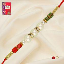 Elegant Pearl Rakhi with Roli, Chawal N Card