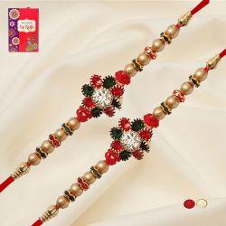Amazing Set of 2 Diamond Rakhi with Roli, Chawal n Card