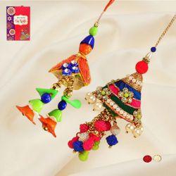 Classy Dual Bracelet Rakhis with Roli, Chawal N Card