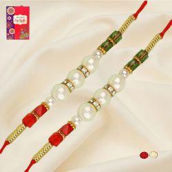 Attractive Dual Pearl Rakhis with Free Roli Chawal N Card