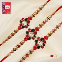 Dashing Set of 3 Diamond Rakhis with Roli, Chawal n Card