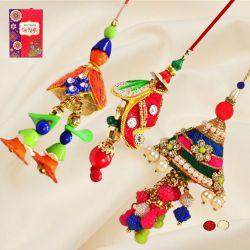 Appealing Set of 3 Bracelet Rakhis with Roli, Chawal N Card