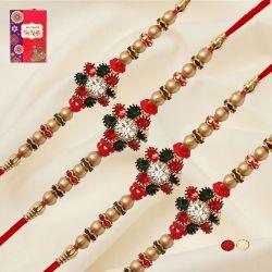 Attractive Set of 4 Diamond Rakhis with Roli, Chawal N Card