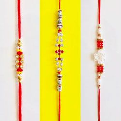 Graceful 3 Jewelled Rakhi Set
