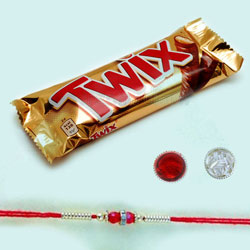 Colourful Beads Rakhi with Twix Chocolates