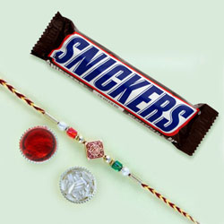 Remarkable Rakhi N Snickers Chocolates Gift Pack