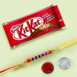 Fancy Beads Rakhi with KitKat Chocolate Bar