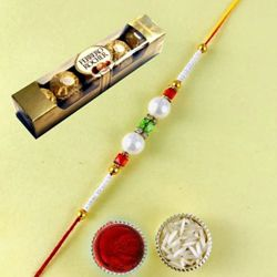 Attractive Pearl Rakhi with Ferrero Rocher Chocolate