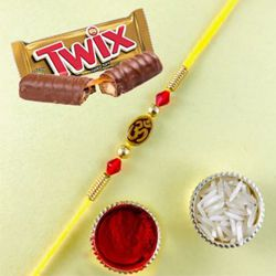 Marvelous Rakhi N Twix Chocolate Gift Combo