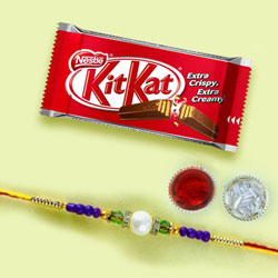 Exquisite Rakhi with Kitkat Chocolates