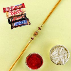 Admirable Rudraksha Rakhi Gift with Kitkat