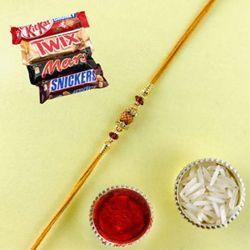Admirable Rudraksha Rakhi Gift with Kitkat