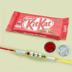 White Bead Rakhi with KitKat Chocolate