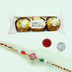 Designer Rakhi with Ferrero Rocher Chocolate