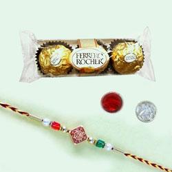 Designer Rakhi with Ferrero Rocher Chocolate