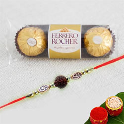 Attractive Rudraksha Rakhi with Ferrero Rocher Chocolates