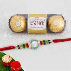 Stone Rakhi with Ferrero Rocher