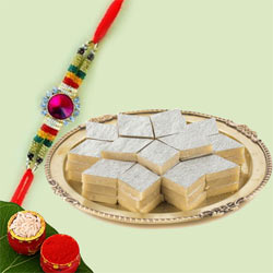 Jewelled Stone Rakhi with Delicious Kaju Katli