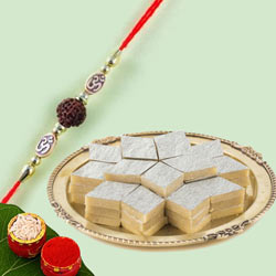 Traditional Gift of Rudraksha Rakhi with Kaju Katli
