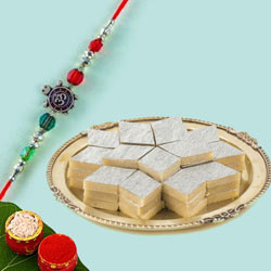 Exclusive Om Rakhi with Kaju Katli Sweets