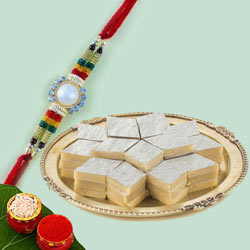 Auspicious Gift of Kaju Katli with Fancy Rakhi