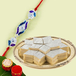 Jewelled Rakhi with Kaju Katli