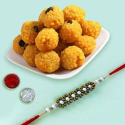 Fancy Rakhi with Boondi Ladoo Combo