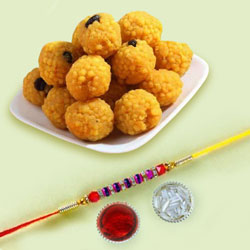 Ethnic Thread Rakhi with Boondi Ladoo