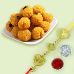 Beautiful Triple Heart Rakhi N Boondi Ladoo