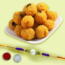 Gift of Pearl Rakhi with Boondi Ladoo