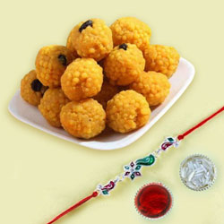 Jewelled Rakhi with Boondi Ladoo