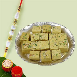 Trendy Pearl Rakhi with Soan Papdi