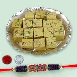 Fancy Rakhi with Soan Papdi for Brother