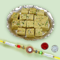 Fancy Rakhi with Soan Papdi Mithai